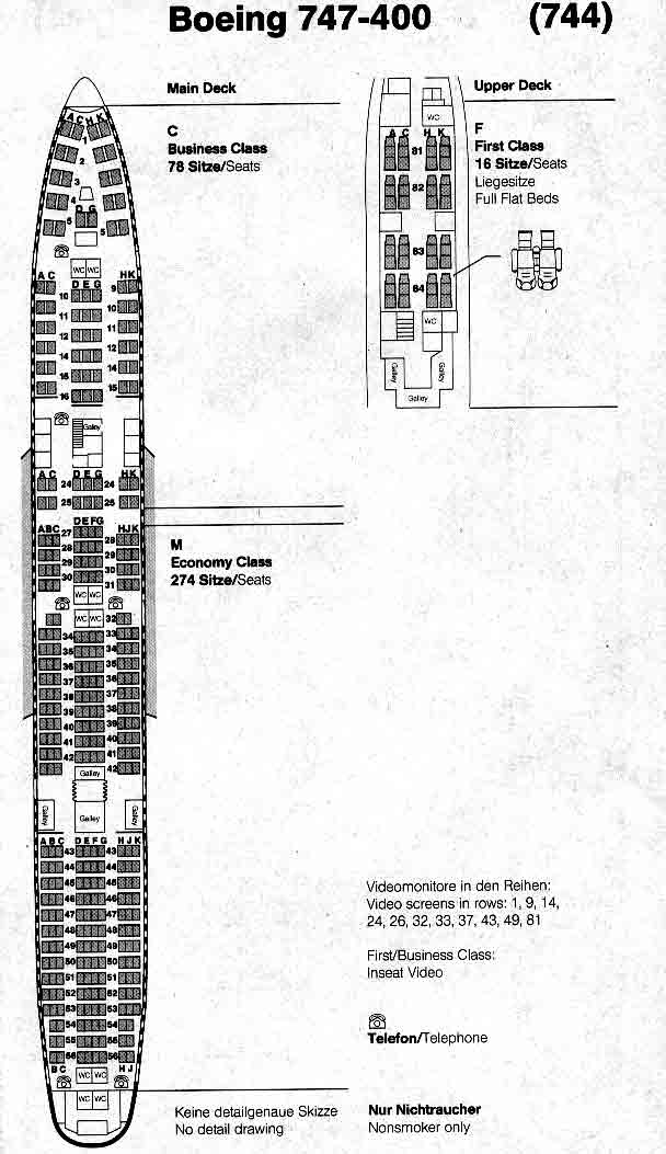 Схема салона Боинг 747-400 Трансаэро Схема расположения.